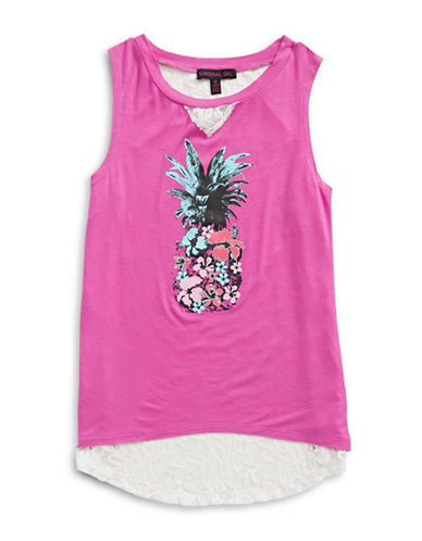 Material Girl Printed Lace-Back Tank-VIOLET-Small