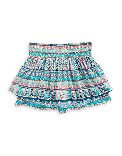 Material Girl Southwestern Smocked Skirted Shorts-BLUE-Large