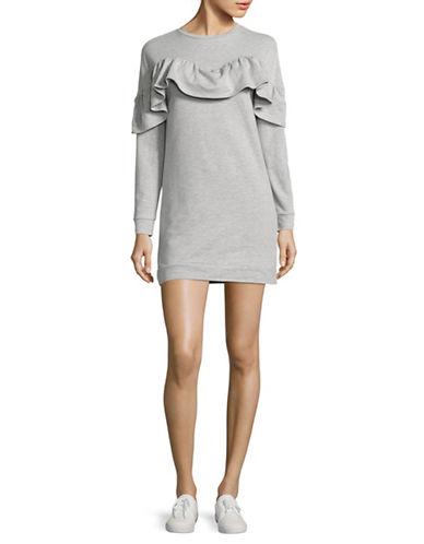 Design Lab Lord & Taylor Ruffle Yoke Sweatshirt-GREY-Small 89018637_GREY_Small