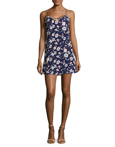 Design Lab Lord & Taylor Lilas Floral Slip Dress-BLUE-Medium
