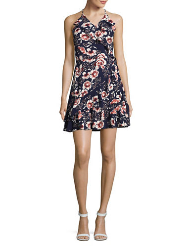 Design Lab Lord & Taylor Ruffle Faux Wrap Floral Dress-BLUE-Medium