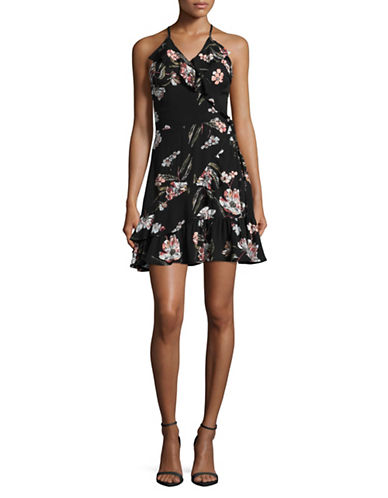 Design Lab Lord & Taylor Ruffle Faux Wrap Floral Dress-GREY-Medium