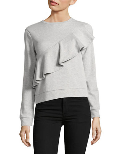 Design Lab Lord & Taylor Ruffle Sweatshirt-GREY-Medium 89018667_GREY_Medium