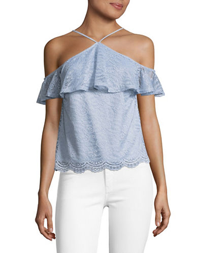 Design Lab Lord & Taylor Y-Neck Lace Top-BLUE-Large