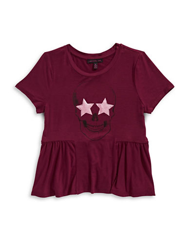 Material Girl Star Skull Peplum Tee-RED-X-Small