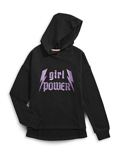 Material Girl Boxy Fit Graphic Hoodie-BLACK-Medium