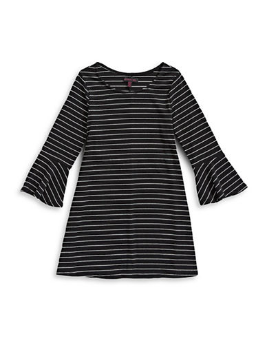 Material Girl Long Bell Sleeve Dress-BLACK-Medium