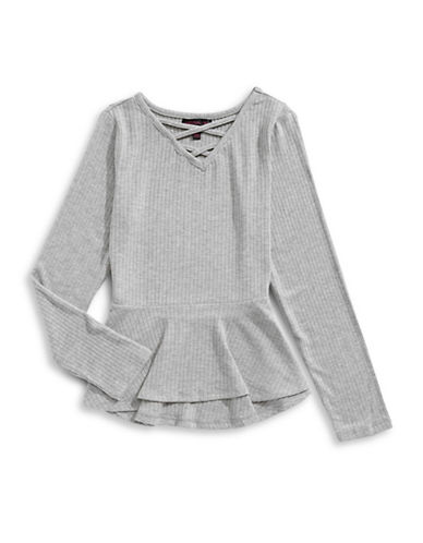 Material Girl Cross-Front Peplum Top-GREY-Small