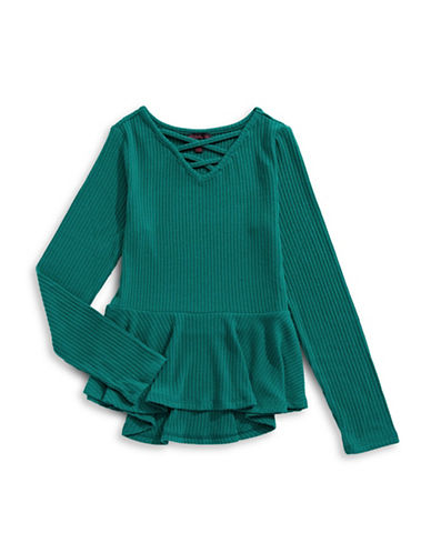 Material Girl Cross-Front Peplum Top-GREEN-Small