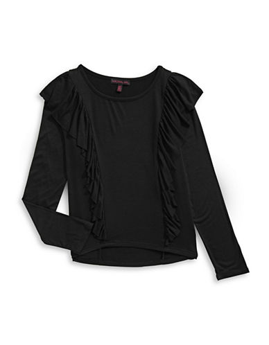 Material Girl Ruffle-Trim Long-Sleeve Top-BLACK-X-Small
