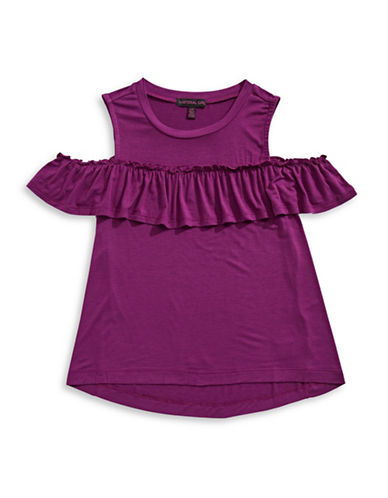 Material Girl Cold-Shoulder Ruffle Tee-PLUM-X-Small