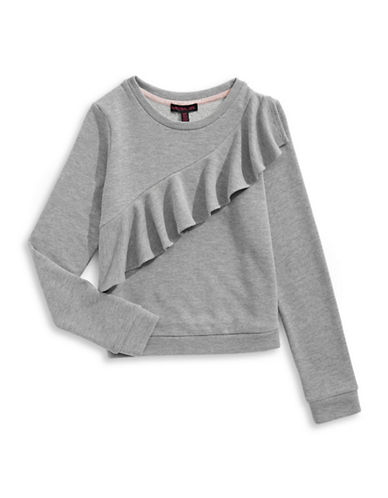 Material Girl Ruffle Sweatshirt-GREY-Large