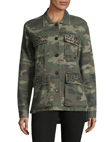 Design Lab Lord & Taylor Studded Camo Utility Jacket-GREEN-Small