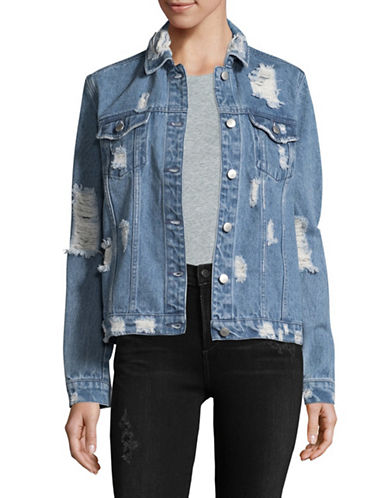 Design Lab Lord & Taylor Destructed Oversized Denim Jacket-BLUE-X-Small