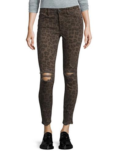 Design Lab Lord & Taylor Leopard Print Skinny Jeans-BLACK-29
