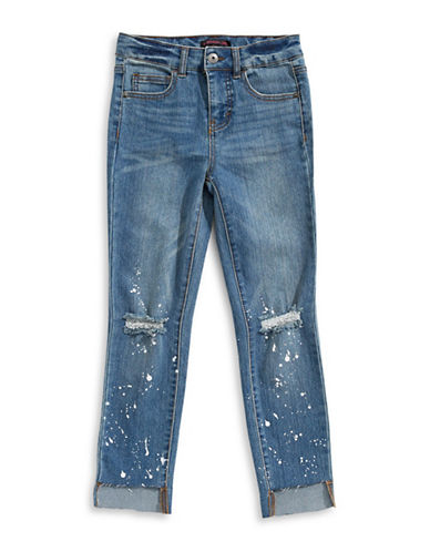 Material Girl Distressed Splatter Jeans-BLUE-X-Small