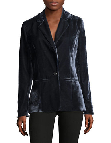 Design Lab Lord & Taylor Notch Velvet Blazer-BLUE-Large