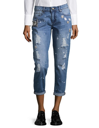 Design Lab Lord & Taylor Distressed Cotton Jeans-BLUE-27