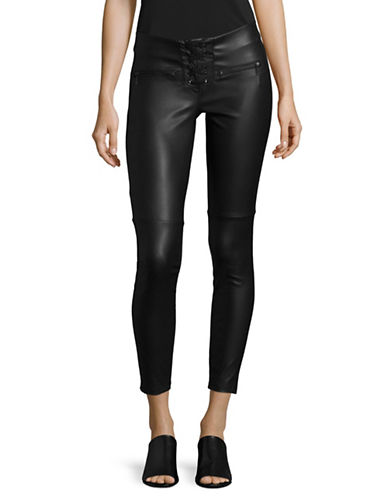 Design Lab Lord & Taylor Moto Lace-Up Leggings-BLACK-30