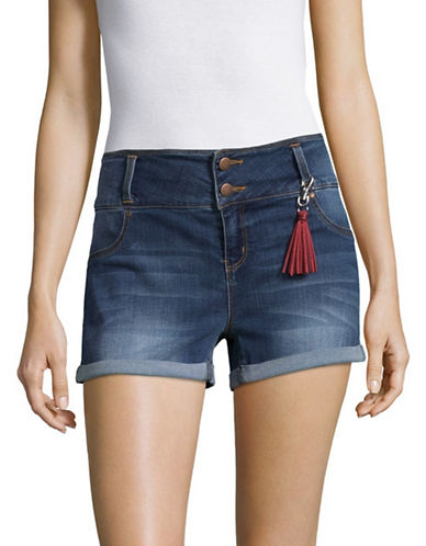 Design Lab Lord & Taylor Clean Cuff Denim Shorts-GREY-28