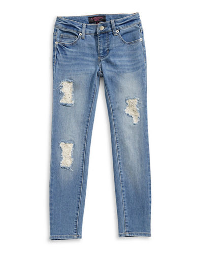 Material Girl Lace Repair Skinny Jeans-BLUE-14