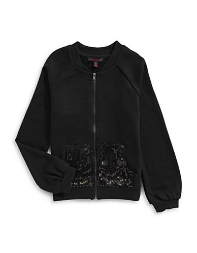 Material Girl Sequin Bomber Jacket-BLACK-Small