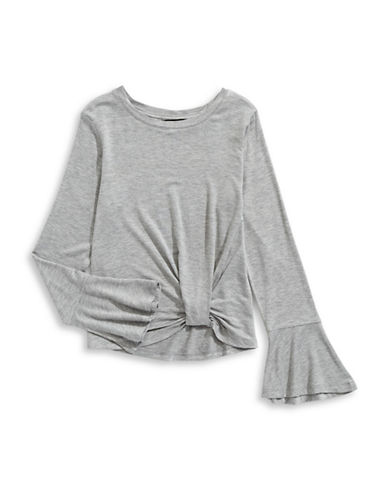 Material Girl Bell Sleeve Heathered Top-GREY-X-Small