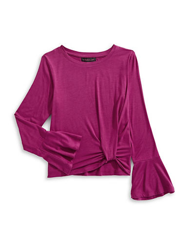 Material Girl Bell Sleeve Heathered Top-PINK-Medium