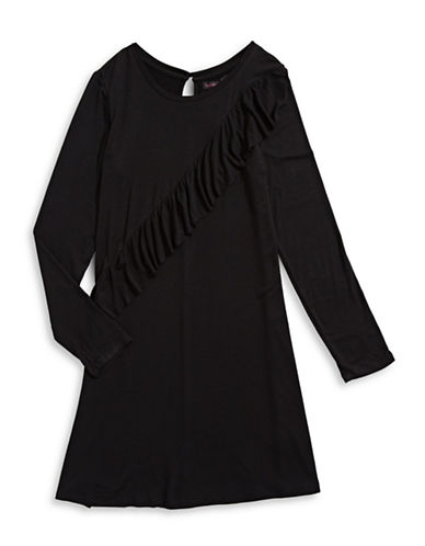 Material Girl Long Sleeve Ruffle Dress-BLACK-Medium