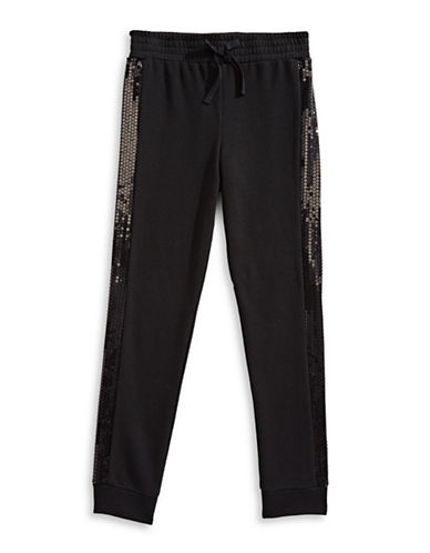 Material Girl Sequined Jogger Pants-BLACK-Small