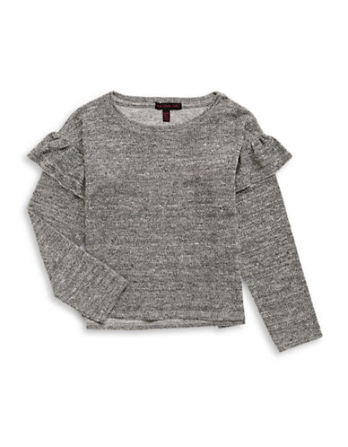 Material Girl Ruffle Sleeve Crew Neck Top-GREY-X-Small