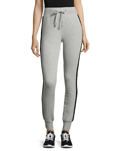 Design Lab Lord & Taylor Velvet Tuxedo Jogger Pants-GREY-Medium