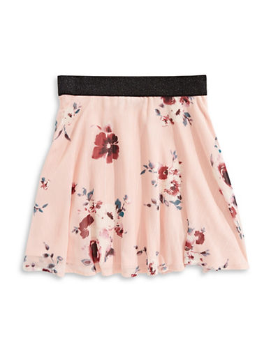 Material Girl Floral Skater Skirt-PINK-Medium