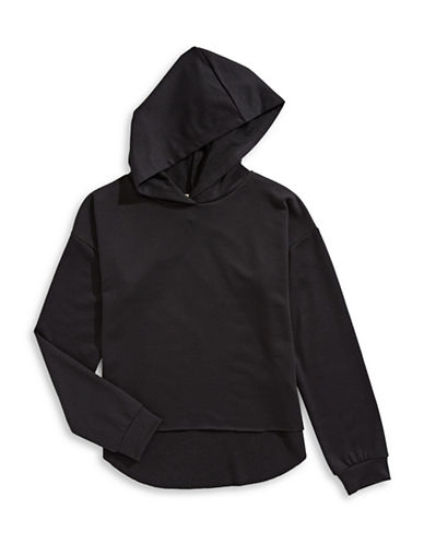 Material Girl Raw Edge Hi-Lo Hoodie-BLACK-Large