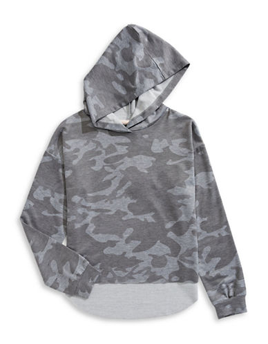Material Girl Raw Edge Hi-Lo Hoodie-GREY-X-Small