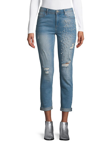 Design Lab Lord & Taylor Pearl Embellished Jeans-BLUE-28