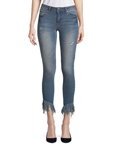 Design Lab Lord & Taylor Distressed Skinny Jeans-BLUE-32