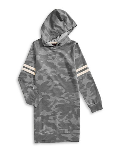 Material Girl Camo-Print Hooded Sweater Dress-GREY-X-Small