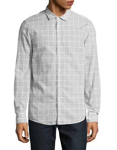 Michael Kors Lewis Slim-Fit Check Sport Shirt-GREY-Large