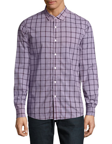 Michael Kors Lewis Slim-Fit Check Sport Shirt-PURPLE-X-Large