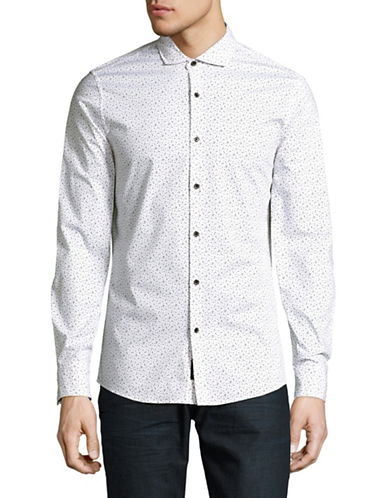 Michael Kors Otis Slim-Fit Printed Sport Shirt-WHITE/BLACK-Small