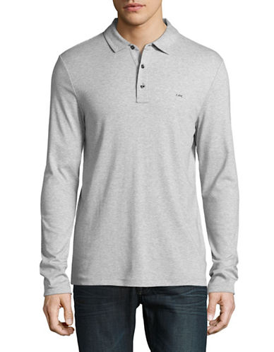 Michael Kors Long Sleeve Polo-GREY-Large