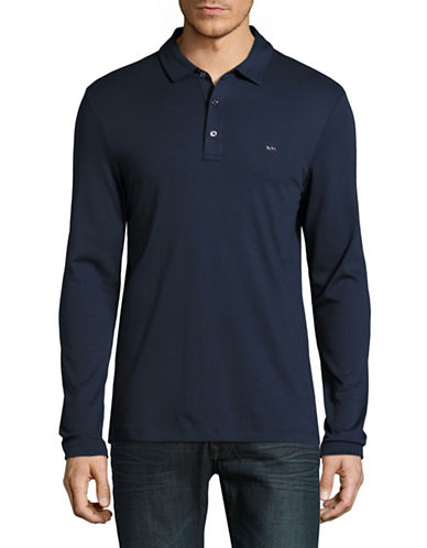Michael Kors Long Sleeve Polo-MIDNIGHT BLUE-Large