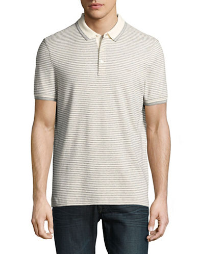 Michael Kors Striped Polo-GREY-Medium
