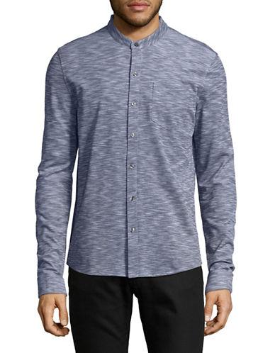 Michael Kors Spacedye Band Collar Shirt-BLUE-Small