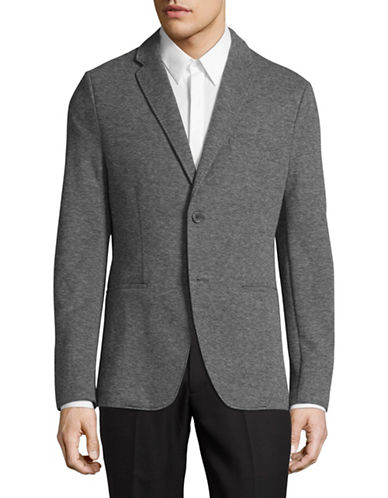 Michael Kors Birdseye Knit Blazer-BLACK-X-Large