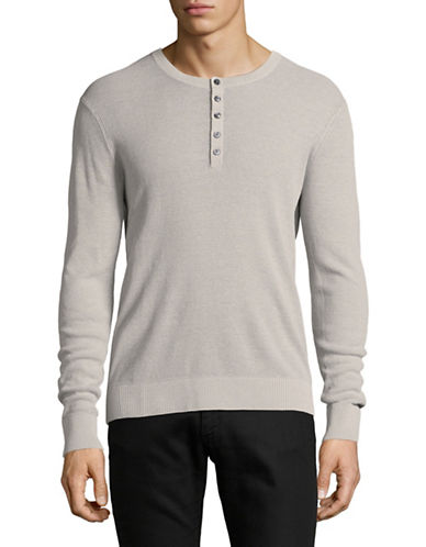 Michael Kors Melange Wash Linen-Cotton Henley-SILVER-Small