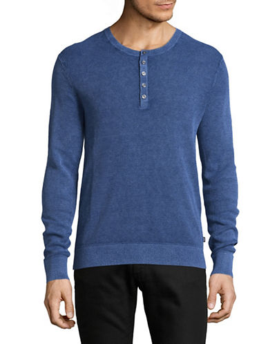 Michael Kors Melange Wash Linen-Cotton Henley-BLUE-Medium