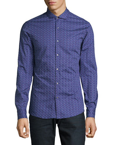 Michael Kors Caleb Slim-Fit Printed Sport Shirt-PURPLE-Medium