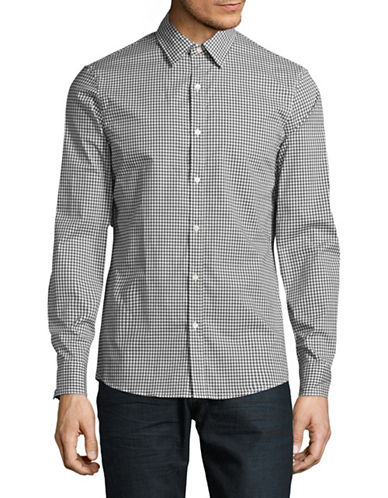 Michael Kors Gingham Stretch Shirt-BLACK-X-Large